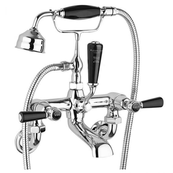 Bathroom taps: Bayswater black trimmed Wall Mounted Bath Shower Mixer