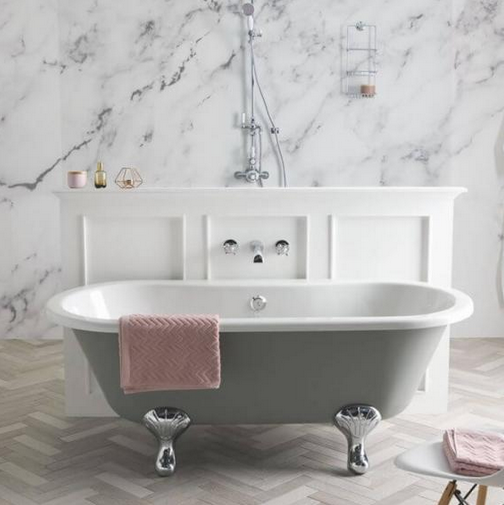 grey bathroom ideas BC Designs Elmstead 1700mm roll top painted freestanding bath and feet
