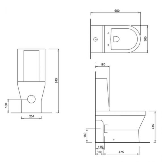 Britton Curve Open Back Close Coupled WC, One Piece Cistern & Soft Close Seat - Spec