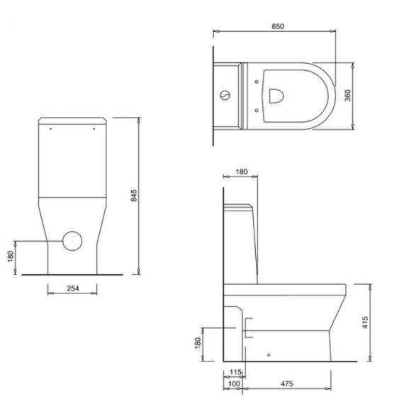 Britton Curve Open Back Close Coupled WC, Angled Cistern & Soft Close Seat - Spec