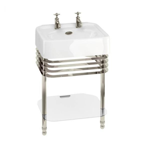 Arcade 600mm Basin With Nickel Wash Stand - 2 Tap Holes