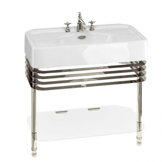 Arcade 900mm Basin With Nickel Wash Stand - 3 Tap Holes