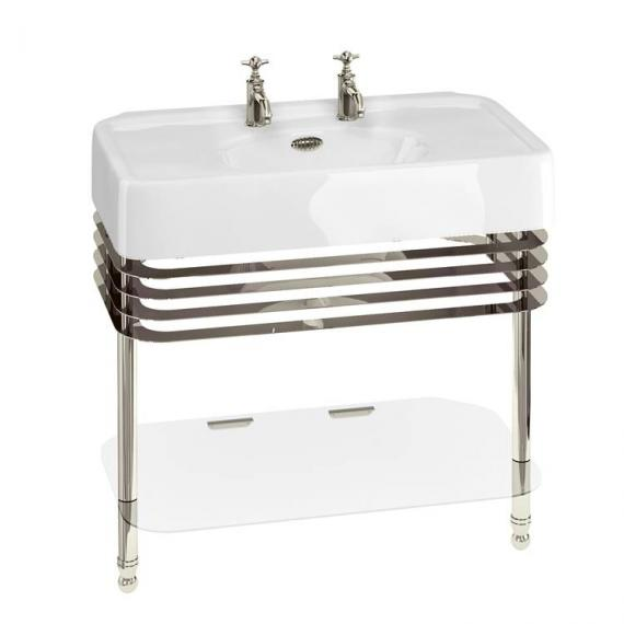 Arcade 900mm Basin With Nickel Wash Stand - 2 Tap Holes