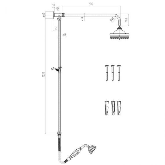 Hudson Reed Traditional Triple Exposed Shower Valve With Rigid Riser Kit - Spec 2
