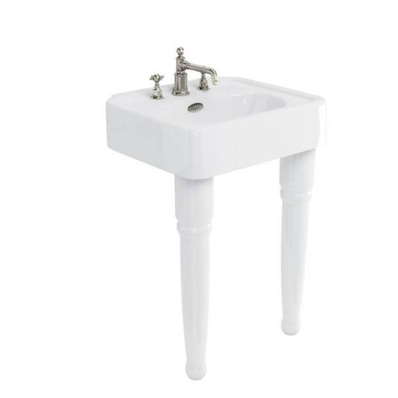 Arcade Console 600mm Basin With Ceramic Legs - 3 Tap Holes