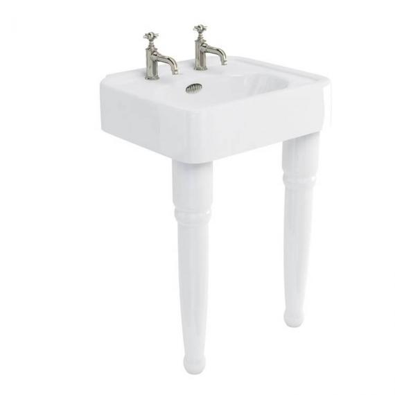 Arcade Console 600mm Basin With Ceramic Legs - 2 Tap Holes