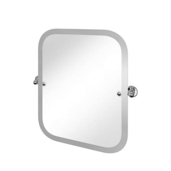 Arcade Rectangular Chrome Swivel Mirror With Curved Corners