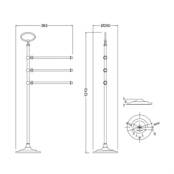 Arcade Chrome Triple Towel Rail Stand Specification
