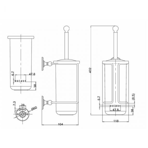 Arcade Nickel Toilet Brush Holder Specification