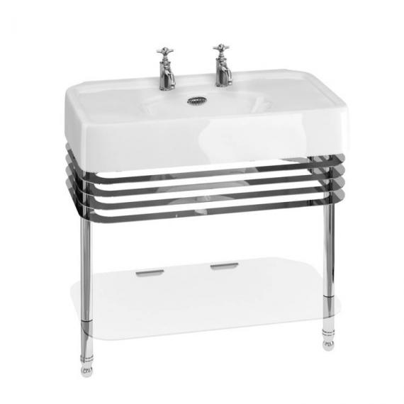 Arcade 900mm Basin With Chrome Wash Stand - 2 Tap Holes