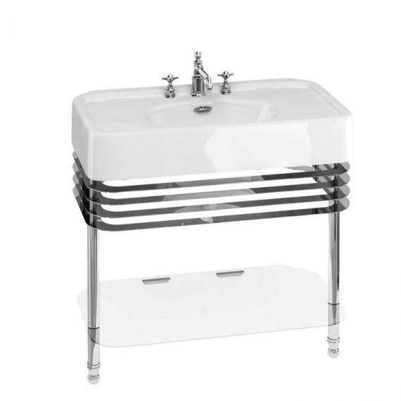 Arcade 900mm Basin With Chrome Wash Stand - 3 Tap Holes