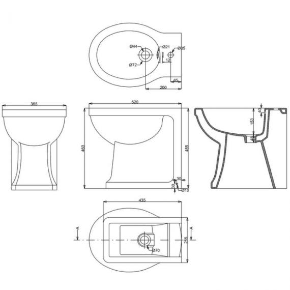 Arcade Back To Wall Bidet Specification