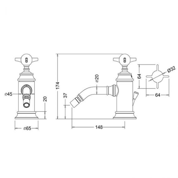 Arcade Chrome Bidet Monobloc Mixer Specification