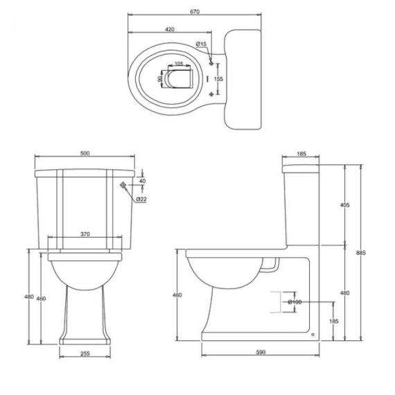 Arcade Back To Wall Close Coupled Toilet Specification