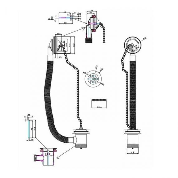 Arcade Chrome Bath Overflow, Plug & Chain Waste Specification
