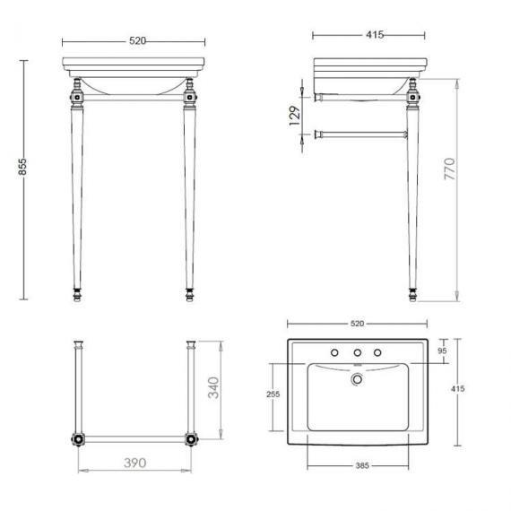 Imperial Astoria Deco Small Basin Stand with Towel Rail Specification