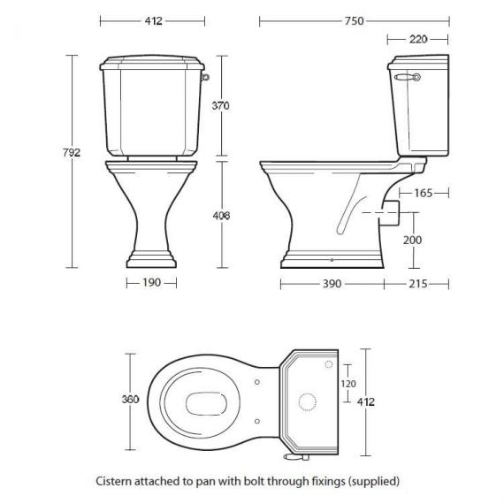 Imperial Astoria Deco Close Coupled WC & Cistern Specification