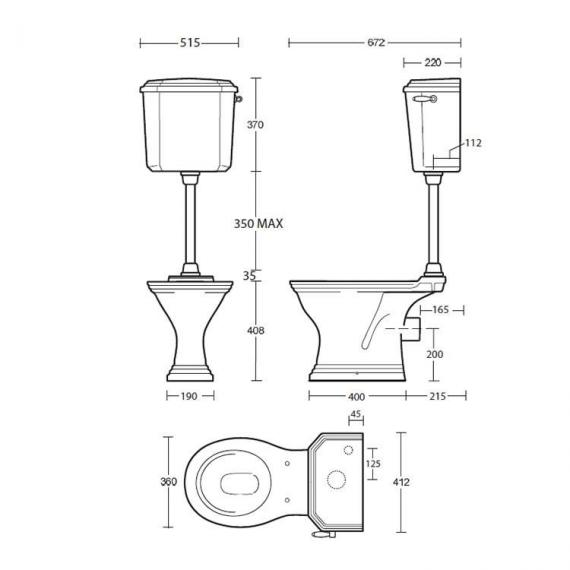 Imperial Astoria Deco Low Level WC & Cistern Specification