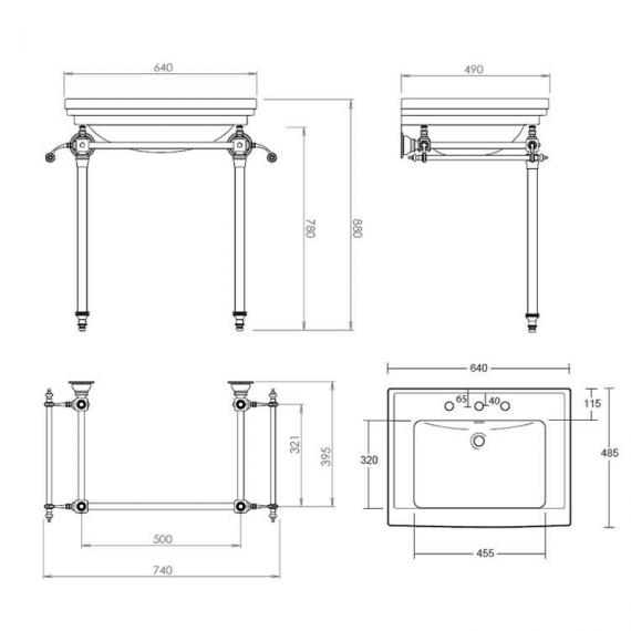 Imperial Hardwick Astoria Deco Basin Stand with Glass Legs Specification
