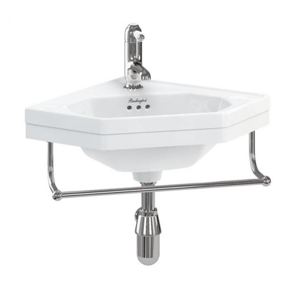 Burlington Wall Mounted Cloakroom Corner Basin With Optional Towel Rail