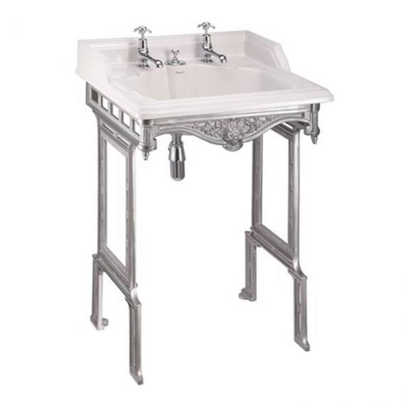 Burlington Classic Basin With Invisible Overflow & Waste With Polished Aluminium Wash Stand