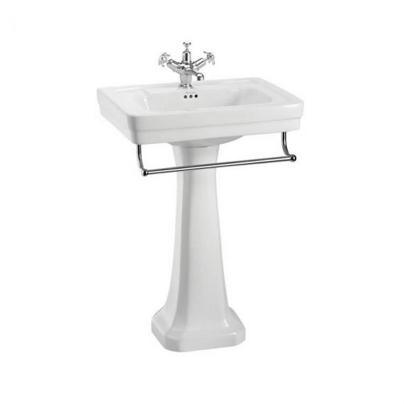 Burlington Contemporary Regal Medium 58cm Basin, Pedestal & Towel Rail