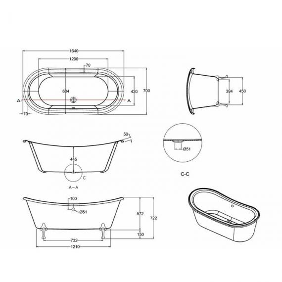 Burlington Bateau Freestanding Bath & Feet - Image 4