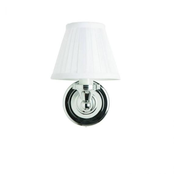 Burlington Round Light With Chrome Base and Fine Pleated Shade in White