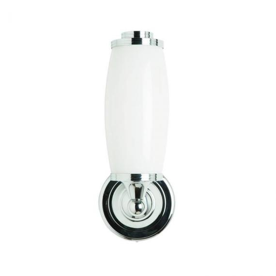 Burlington Round Light With Chrome Base And Tube Frosted Glass Shade