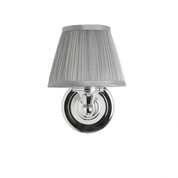 Burlington Round Light With Chrome Base and Chiffon Silver Shade