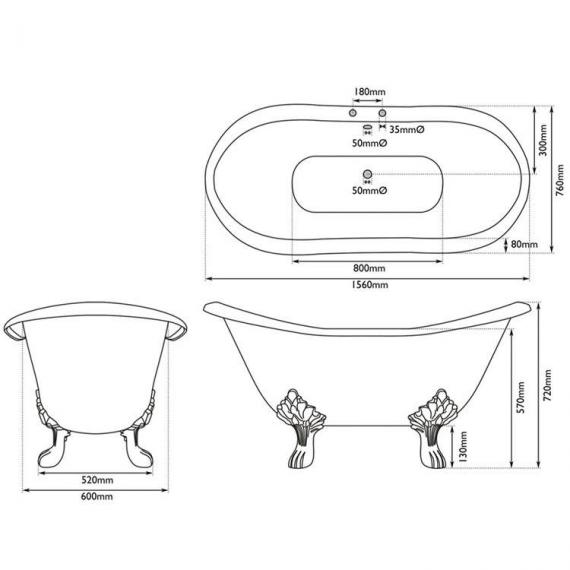 JIG Banburgh Small Double Ended Slipper Cast Iron Bath 1560 x 765mm with Feet - Spec