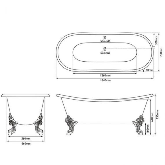 JIG Belvoir Double Ended Cast Iron Bath 1840 x 780mm with Feet - Spec