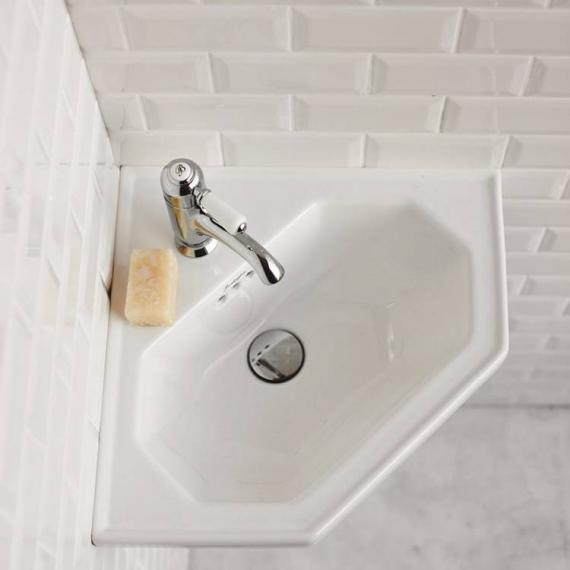 Burlington Wall Mounted Cloakroom Corner Basin With Optional Towel Rail - Image 2