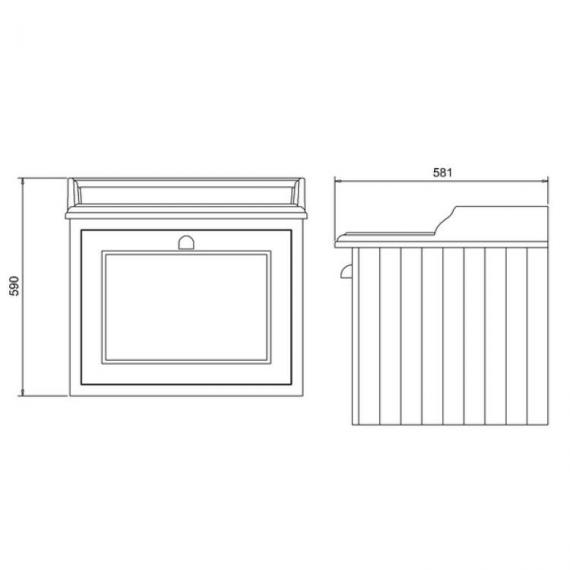Burlington Olive 650mm Wall Hung Vanity Unit With Worktop & Basin - Spec