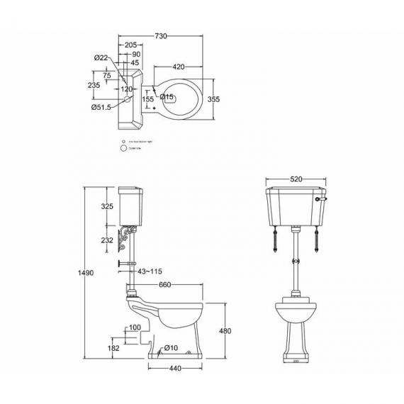 Burlington Regal Medium Level Toilet - Spec