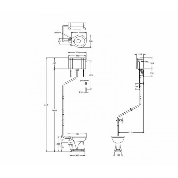 Burlington High Level Toilet & Cistern With Angled Flushpipes - Spec