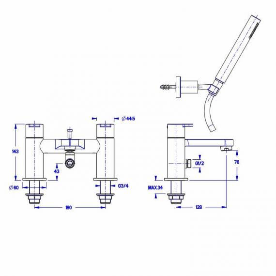Crosswater Central Bath Shower Mixer Specification