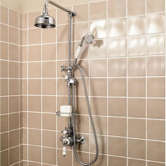 Imperial Victorian Exposed Thermostatic Shower Valve With Head, Riser Rail  U0026 Handset