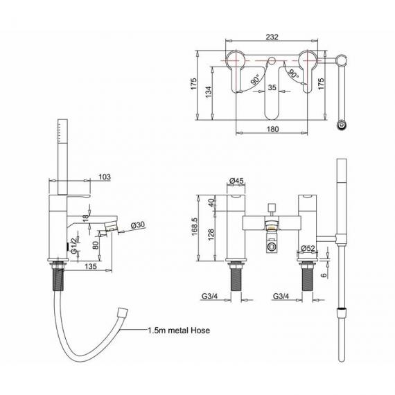 Crystal Bath Shower Mixer Specification