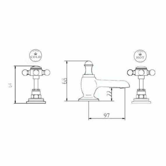 BC Designs Victrion Lever 3 Hole Basin Mixer Specification
