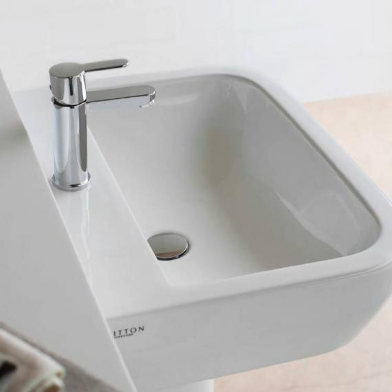 Britton Curve 500mm Basin & Round Fronted Semi Pedestal - Image 2
