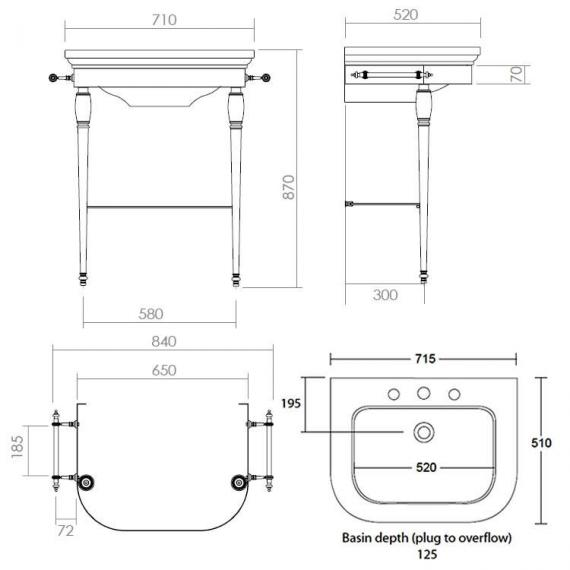 Imperial Carlyon Large Basin Stand With Glass Shelf Specification