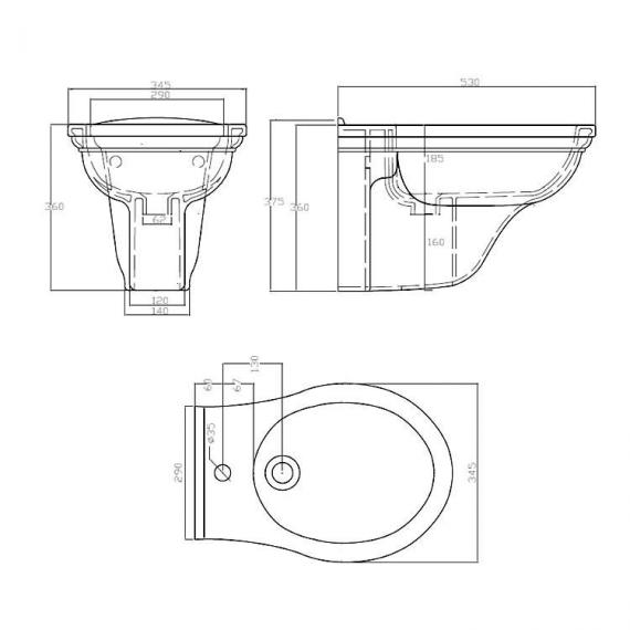 Imperial Carlyon Wall Hung Bidet Specification