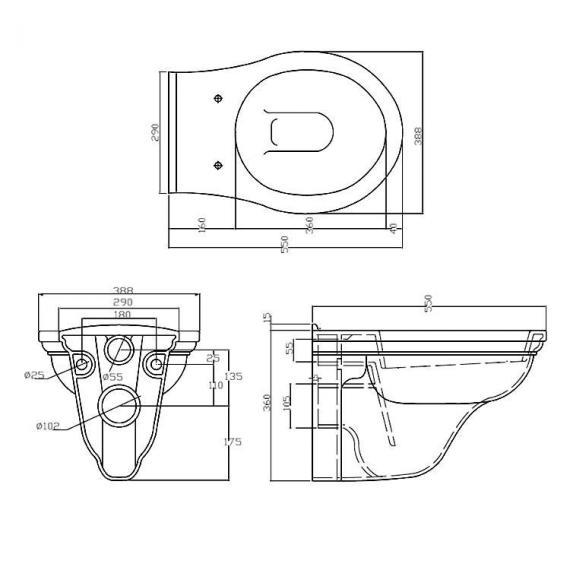 Imperial Carlyon Wall Hung Pan Specification