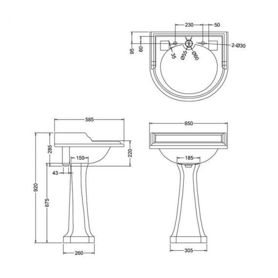 Burlington Classic Round Basin & Close Coupled Toilet Set - Image 4