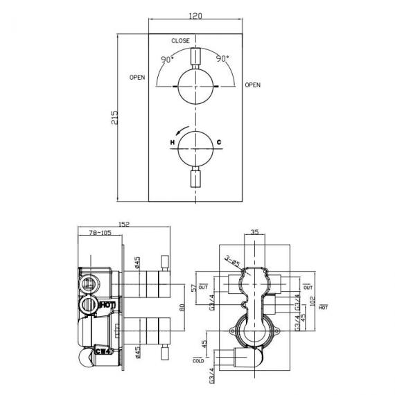 Crosswater Design Thermostatic Shower Valve With 2 Way Diverter Specification
