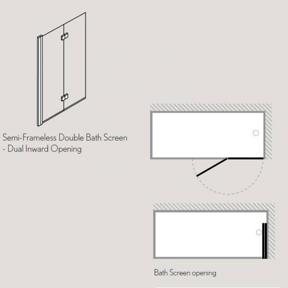 Simpsons Design View Double Bath Screen - Dual Inward Opening Specification