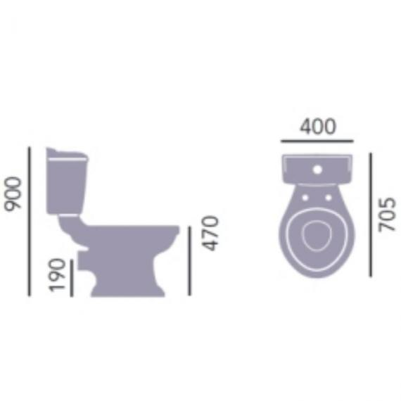 Heritage Dorchester Comfort Height Close Coupled WC & Portrait Cistern Specification
