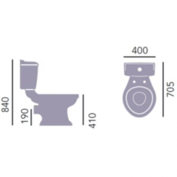 Heritage Dorchester Close Coupled WC & Portrait Cistern Specification
