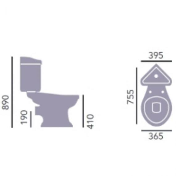 Heritage Dorchester Close Coupled Corner WC & Cistern Specification